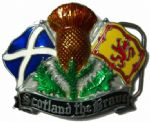 Scottish. Scotland the Brave, Satire, Lion Rampant Flags, Thistle Belt Buckle with display stand. Product code: AB4